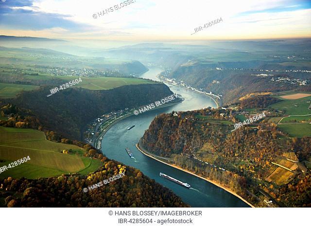 Loreley, slate rock formation, UNESCO World Heritage Upper Middle Rhine Valley near St. Goarshausen, Rhine Valley, Rhine, Rhineland-Palatinate, Germany