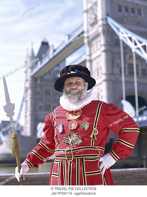 Beefeater at Tower Bridge, London, England