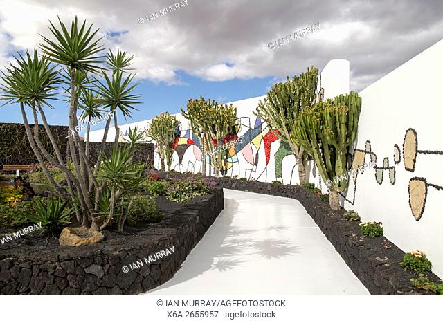 Mosaic in cactus garden Fundación César Manrique, Taro de Tahíche, Lanzarote, Canary islands, Spain
