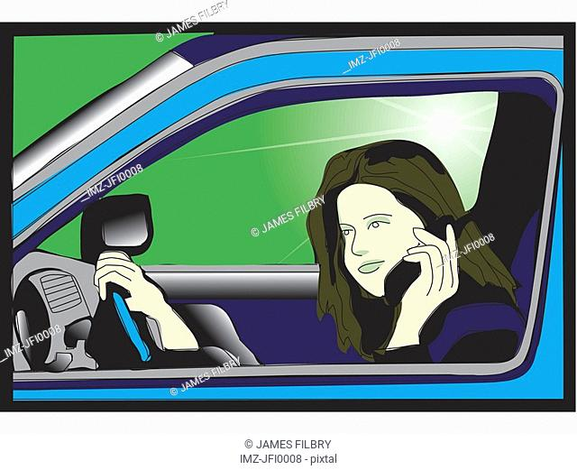 A woman on her cell phone while driving in car