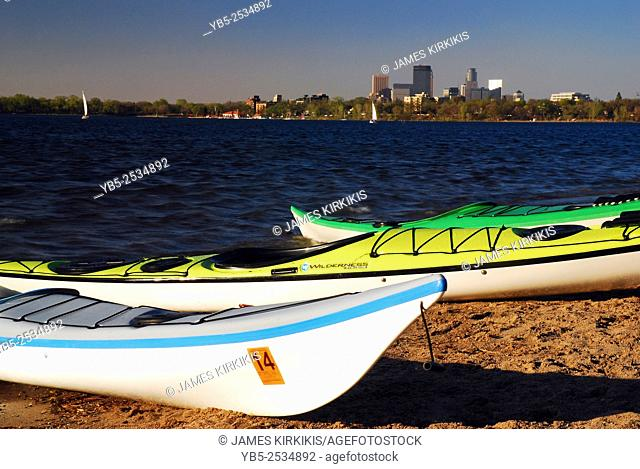 Kayaks Await on Lake Calhoun with the Minneapolis Skyline