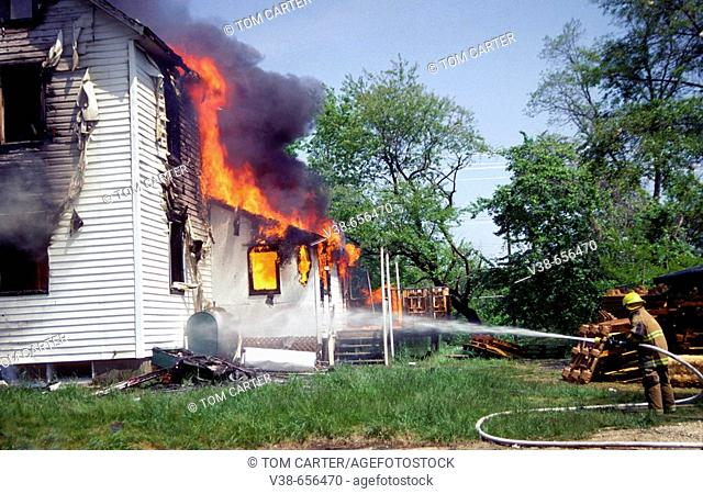 House on fire in Bowie, Maryland