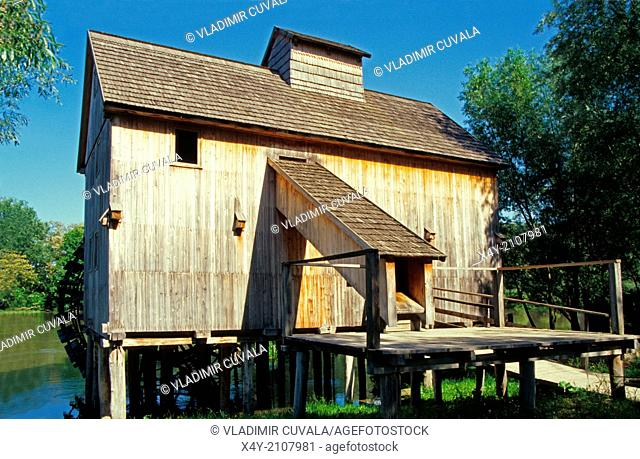 Old wooden flour mill on the river Maly Dunaj near village Jelka, Slovakia