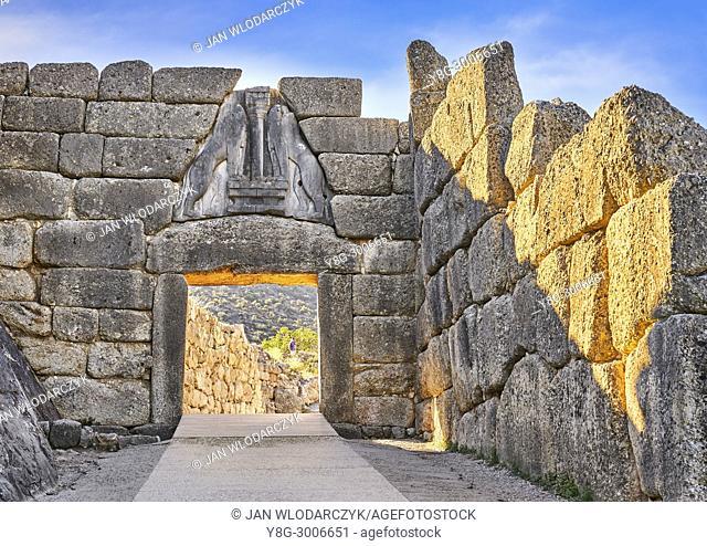 The Lion Gate, Mycenae, Peloponnese, Greece