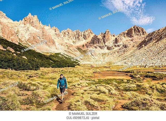 Male hiker trekking in mountain valley, Nahuel Huapi National Park, Rio Negro, Argentina