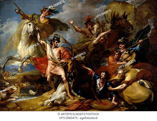 Benjamin West - Alexander III of Scotland Rescued from the Fury of a Stag by the Intrepidity - National Galleries of Scotland