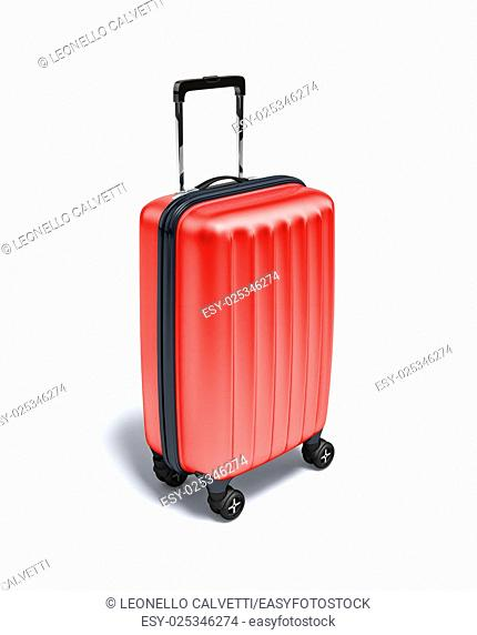 Red Travel suitcase on wheels, on white background. With clipping path included