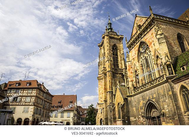 Saint Martin Cathedral of Colmar, Alsace (department of Haut-Rhin, region of Grand Est, France)