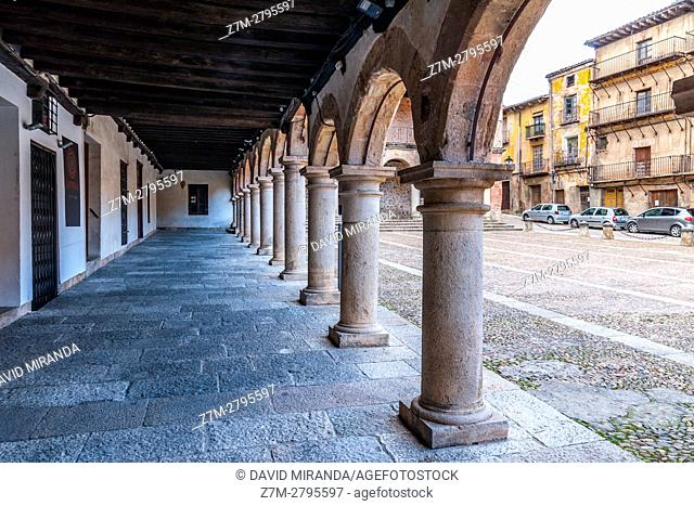 Plaza Mayor, Main Square arcade, Sigüenza, Guadalajara province, Castile La Mancha, Spain. Historical Heritage Site