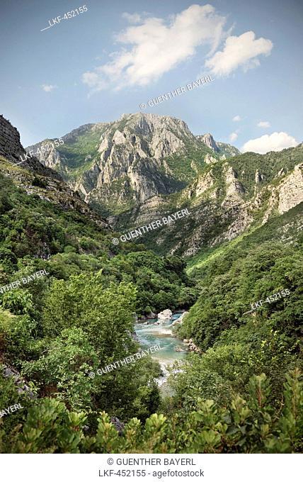Moraca river at Moraca Canyon near Podgorica, Montenegro, Western Balkan, Europe
