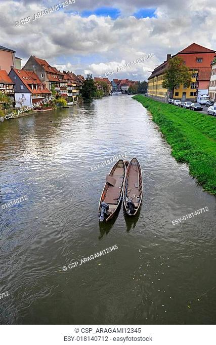 River, boats and vintage houses in Bamberg