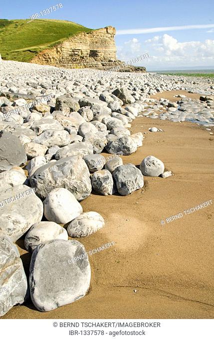 Stones, beach, cliffs, coast, Nash Point, Glamorgan Heritage Coast, South Wales, Wales, United Kingdom, Europe