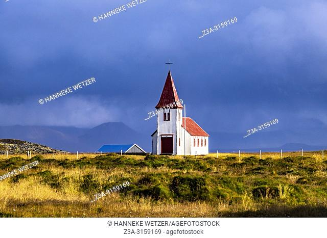 Small coastal church in Hellnar, Snaefellsnes peninsula, Iceland