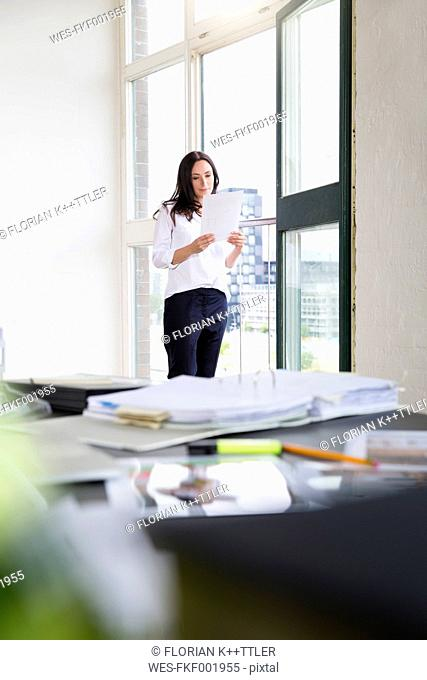 Businesswoman standing at the window, reading document