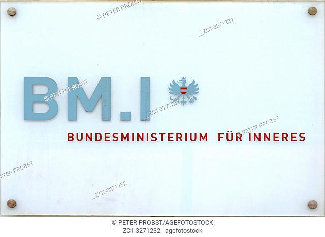 Official sign of the Federal Ministry of the Interior in the Austrian capital Vienna - Austria