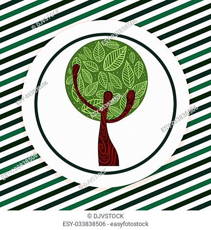 Tree concept with eco icons design, vector illustration 10 eps graphic