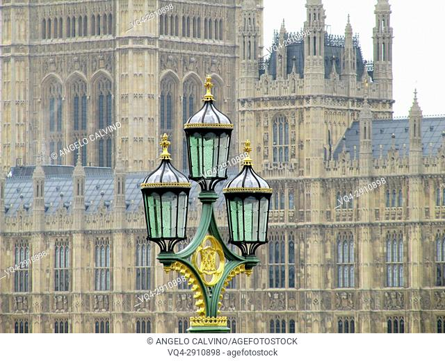 Ancient Street Lamp in front of Houses of Parliament and Westminster, London, England, United Kingdom