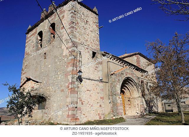 Romanesque parish church. Riba de Saelices, Guadalajara, Spain
