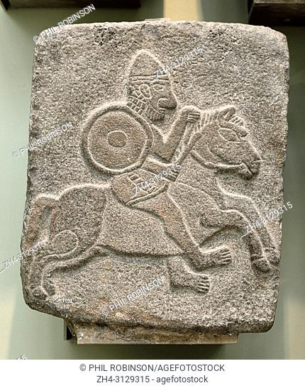 Relief carving from the Tell Halaf, (Iron Age city in NE Syria, c1200-900BC) Mounted Soldier. British Museum, Bloomsbury, London, England, UK