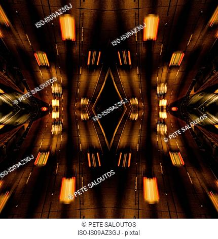 Abstract mirror image of highway motion blur traffic and light trails at night