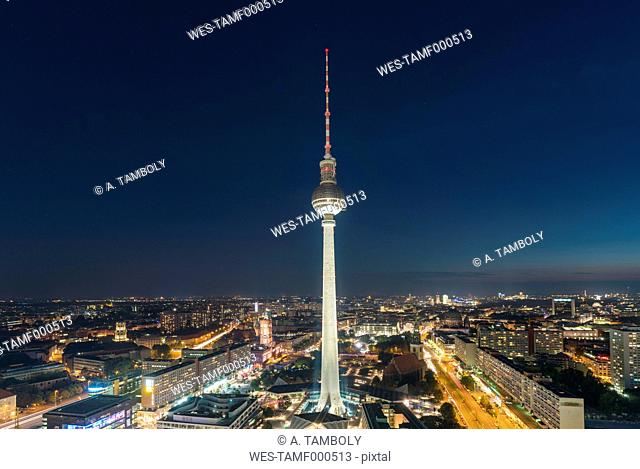 Germany, Berlin, view to television tower at night