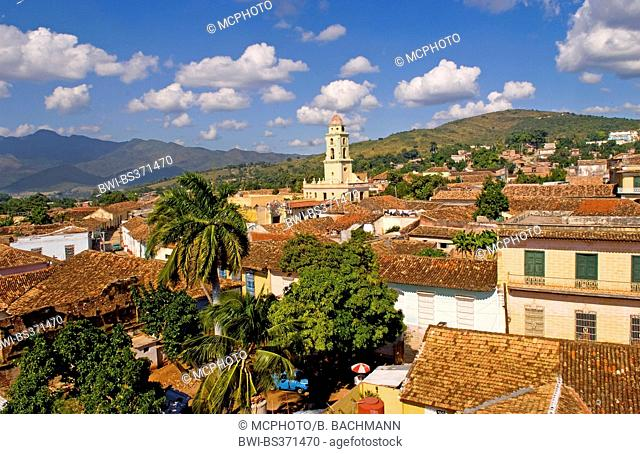 View from above of the old Colonial village of Trinidad, Cuba, Trinidad