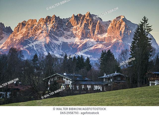 Austria, Tyrol, Kitzbuhel, Kitzbuheler Horn Mountains, dusk