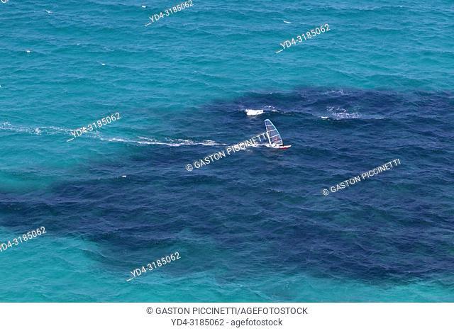 Windsurfing in mallorca, aerial photo, north coast, Balearic island, Spain