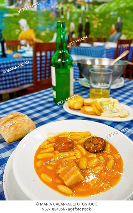 Fabada asturiana serving in a typical restaurant. Asturias, Spain