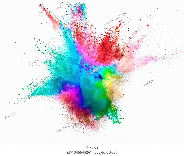 Colored powder explosion isolated on white background. Freeze motion