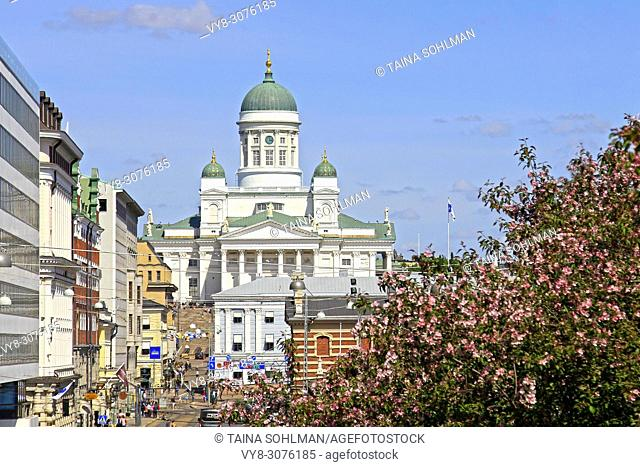 City life and Helsinki Cathedral seen from Etelaranta on a beautiful sunny day of summer. Helsinki, Finland - May 24, 2018
