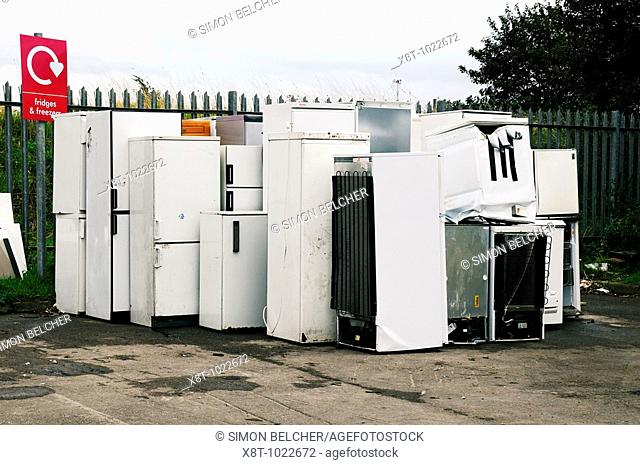 Dumped Fridges and Freezers at a Recycling Centre, Oxfordshire, United Kingdom