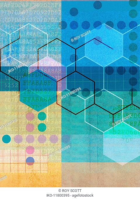 Data, graph paper and shapes in abstract geometric pattern