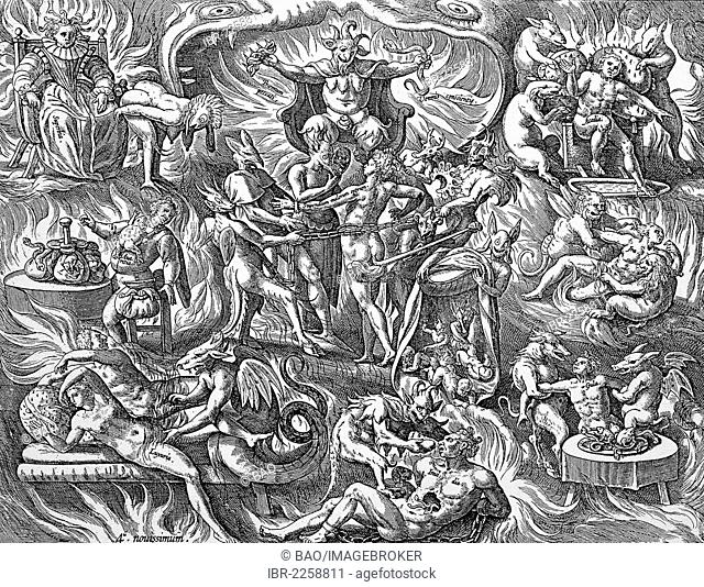 The agonies and horrors of hell, copper engraving by Martin de Voss, about 1750
