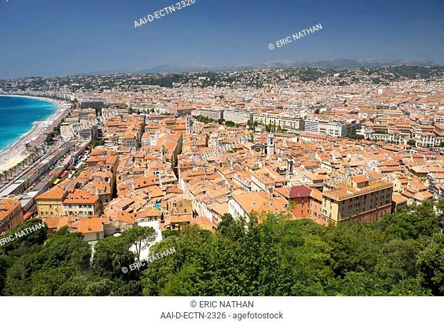 View over the rooftops of the old town in Nice on the Meditteranean coast in southern France