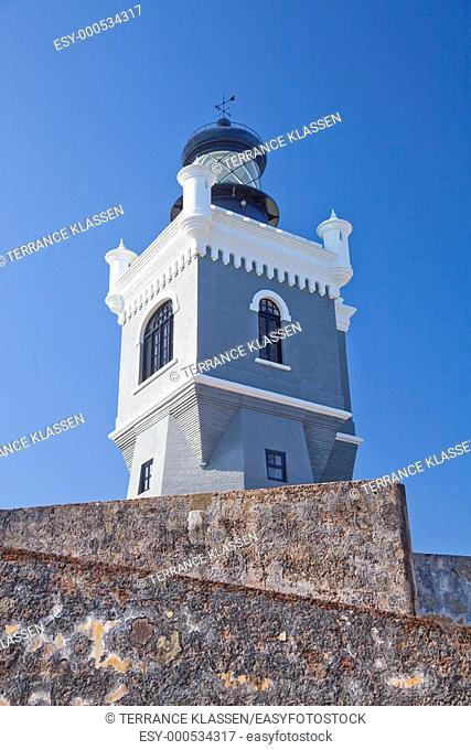 The lighthouse at the San Felipe del Morro Castle in San Juan, Puerto Rico, West Indies
