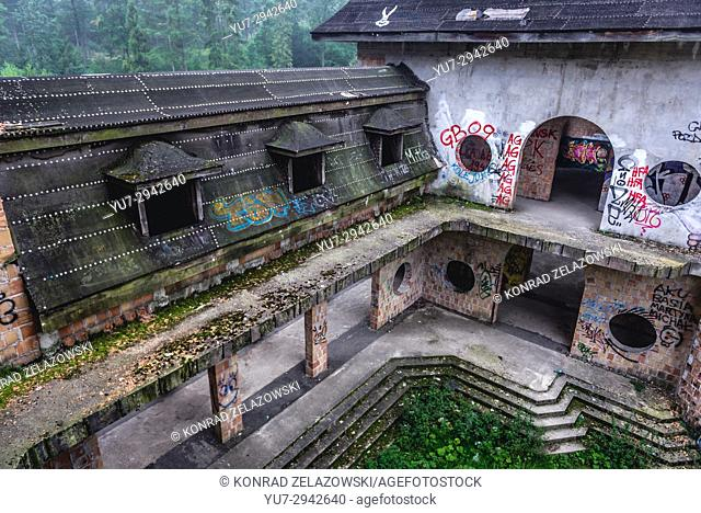 Courtyard of unfinished castle - unofficial tourist attraction in Lapalice village, Kashubia region in Poland. Building of castle began in 1979
