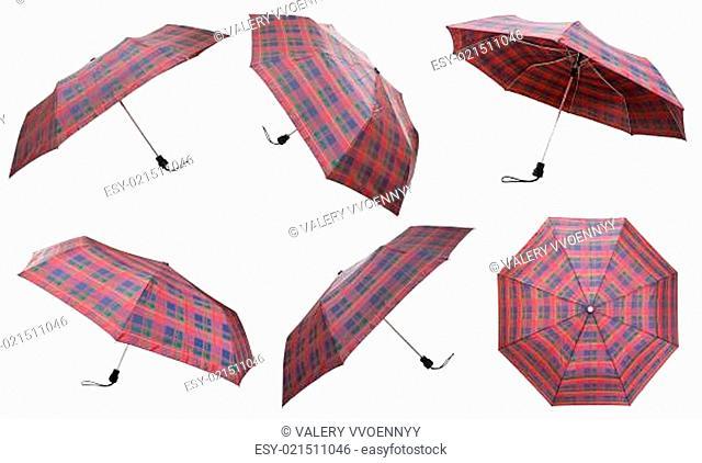 set of telescopic checkered umbrellas