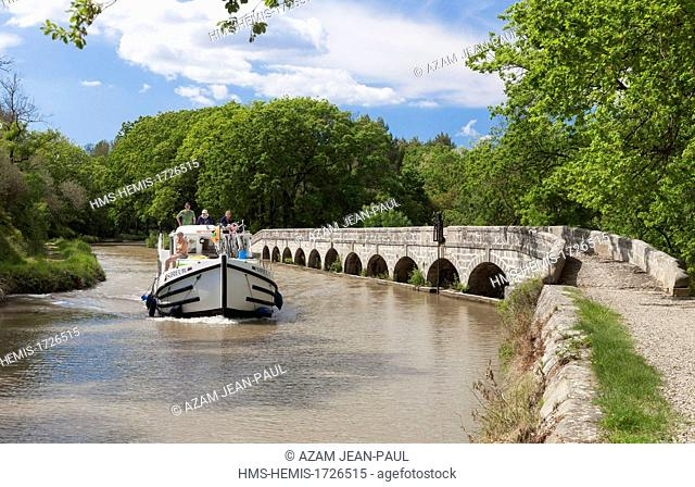 France, Aude, La Redorte, Canal du Midi listed as World Heritage by UNESCO, the Argent-Double spillway