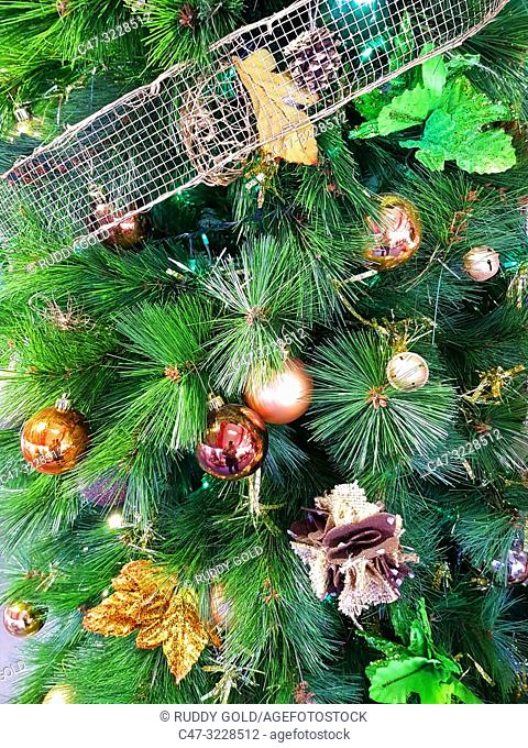 Christmas decoration on a pine tree