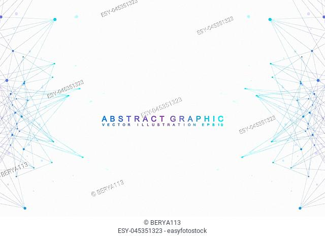 Abstract geometric composition with connected lines and dots for your design