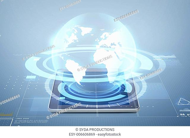 electronics, technology, network and modern gadget concept - tablet pc computer with globe virtual projection above screen over blue background