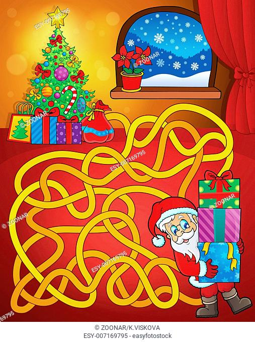 Maze 21 with Christmas theme - picture illustration