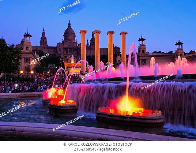 Font Magica de Montjuic - famous fountains in Barcelona, Catalonia, Spain