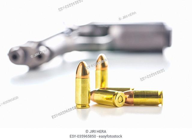 9mm pistol bullet isolated on white background