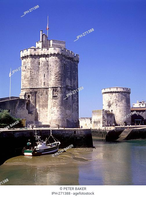 Towers guard the entrance to the beautiful medieval port of La Rochelle