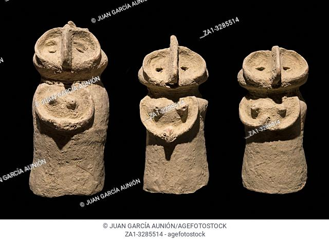 Anthropomorphic clay vessels. Indus Valley. Isolated over black background. Ifergan collection