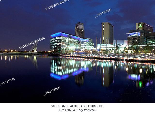 MediaCity UK at night, Salford Quays, Manchester, England