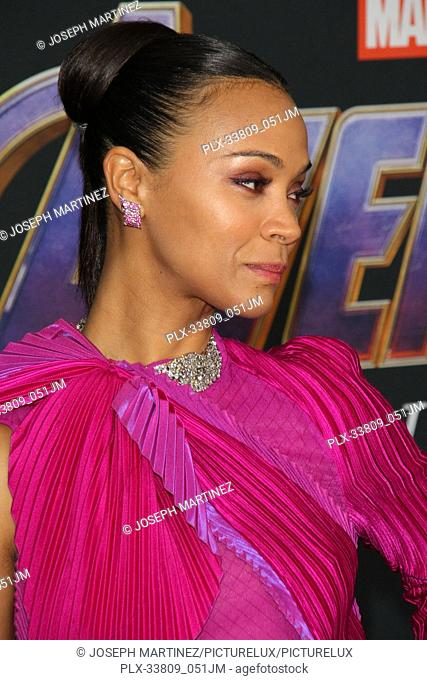 """Zoe Saldana at The World Premiere of Marvel Studios' """"""""Avengers: Endgame"""""""" held at the Los Angeles Convention Center, Los Angeles, CA, April 22, 2019"""
