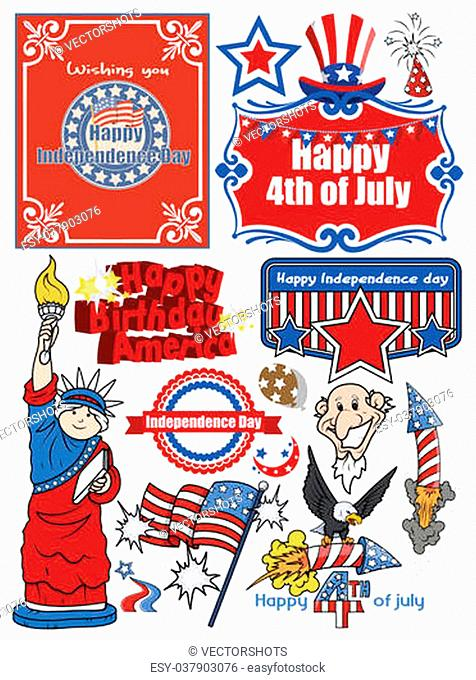 icons and vector set of various America celebration